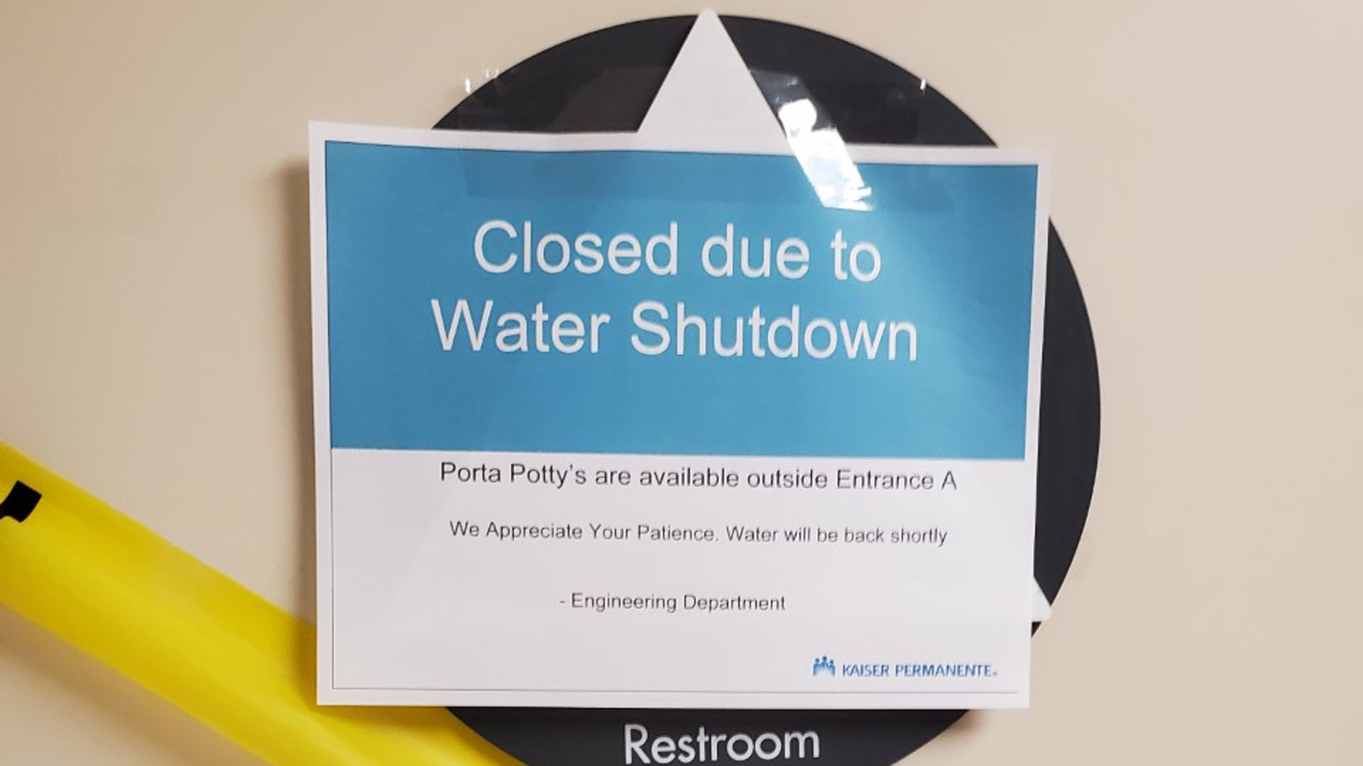 Main Break Expected To Shut Off Water At Kaiser Permanente In