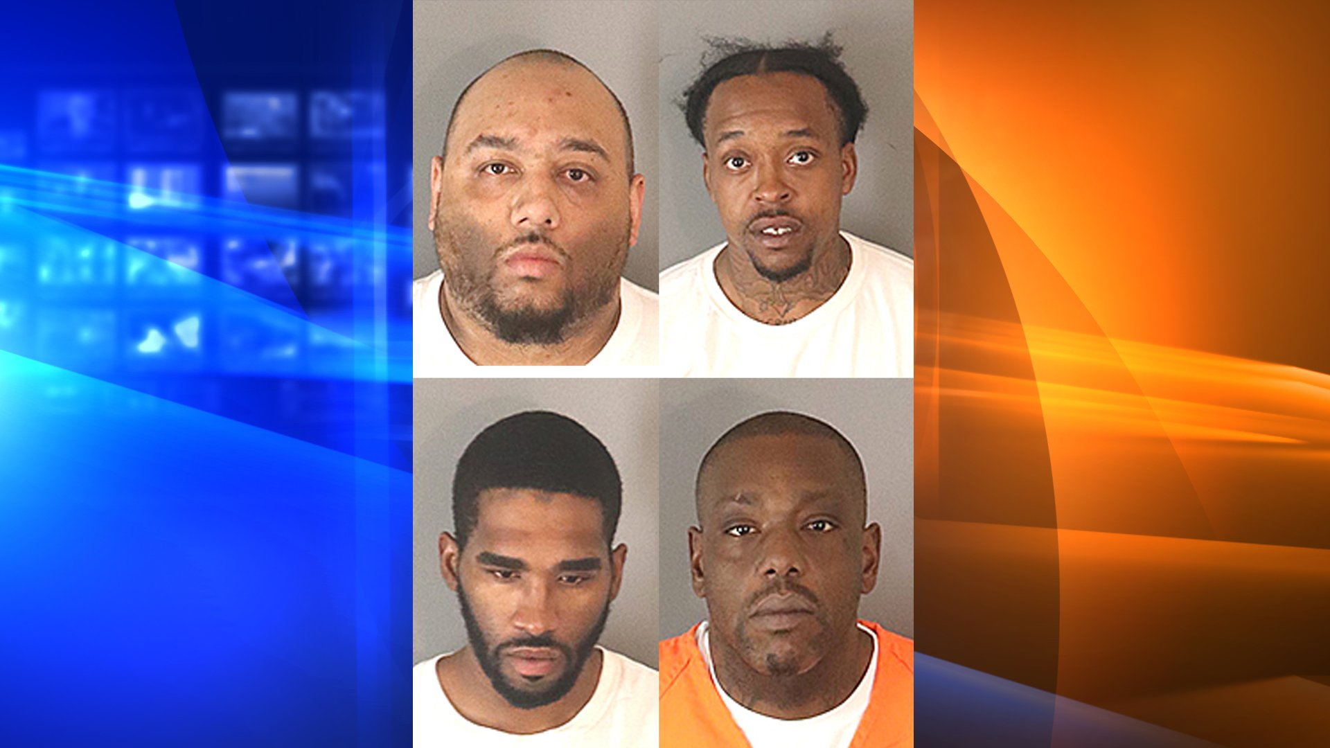 Andrew Cage (top left), Tyrale Holley (top right), Kevin Washington (bottom left) and Maurice Whitley (bottom left) were arrested in connection to a violent armed robbery in Jurupa Valley. (Credit: Riverside County Sheriff's Department)