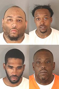 Andrew Cage (top left), Tyrale Holley (top right), Kevin Washington (bottom left) and Maurice Whitley (bottom right) arrested between Nov. 2019 and Jan. 2020. (Credit: Riverside County Sheriff's Department)
