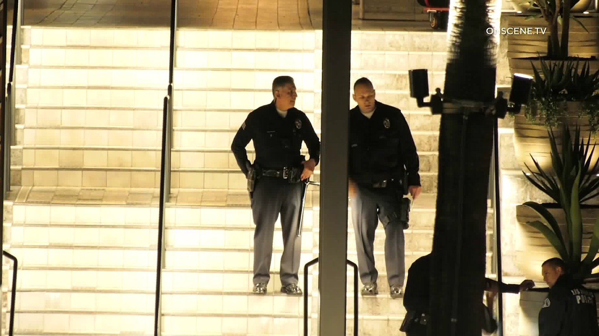 Police investigate a fatal shooting outside the Westfield Century City mall on Jan. 20, 2020. (Credit: OnScene.TV)