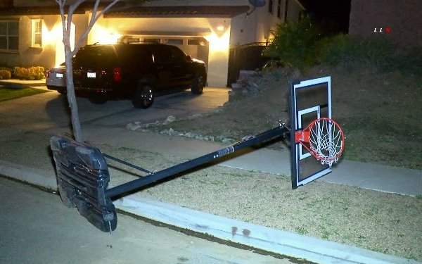 Wind knocked over a basketball hoop in Ontario on Jan. 6 2020. (Credit: Loudlabs)