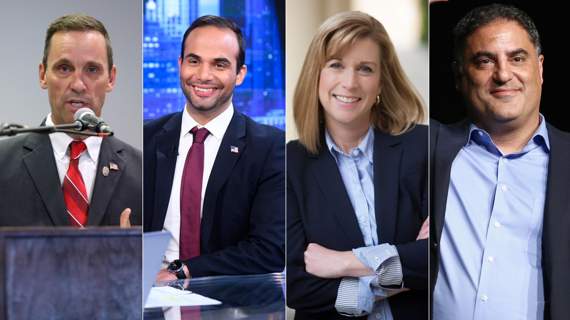 (Left to right) Steve Knight, George Papadopoulos, Christy Smith and Cenk Uygur are shown in file images. (Getty Images and Los Angeles Times)
