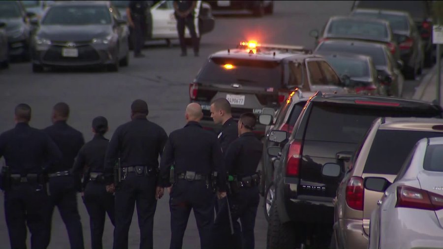 Police investigate a shooting that left a man and a child wounded in the Baldwin Hills area of Los Angeles on Feb. 29, 2020. (Credit: KTLA)