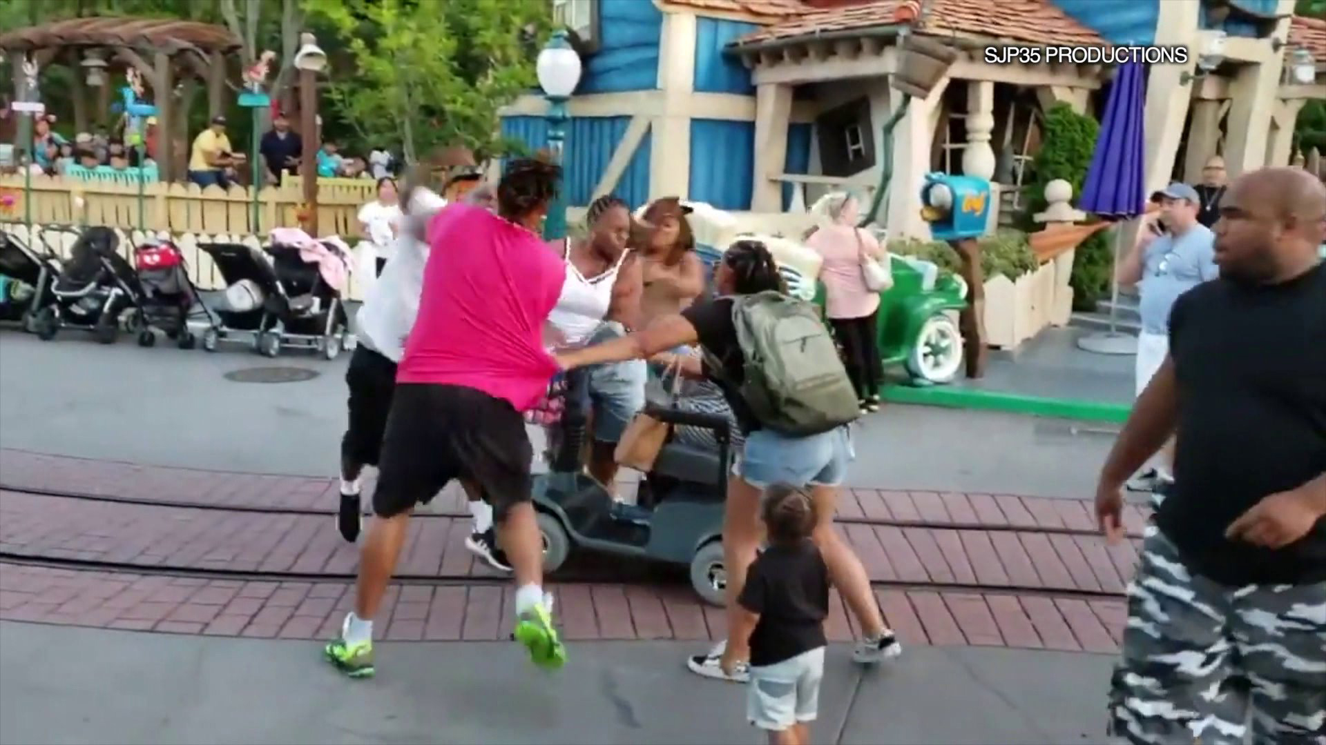 A video posted to YouTube on July 7,2019 captured a violent fight that broke out at Disneyland. (Credit: