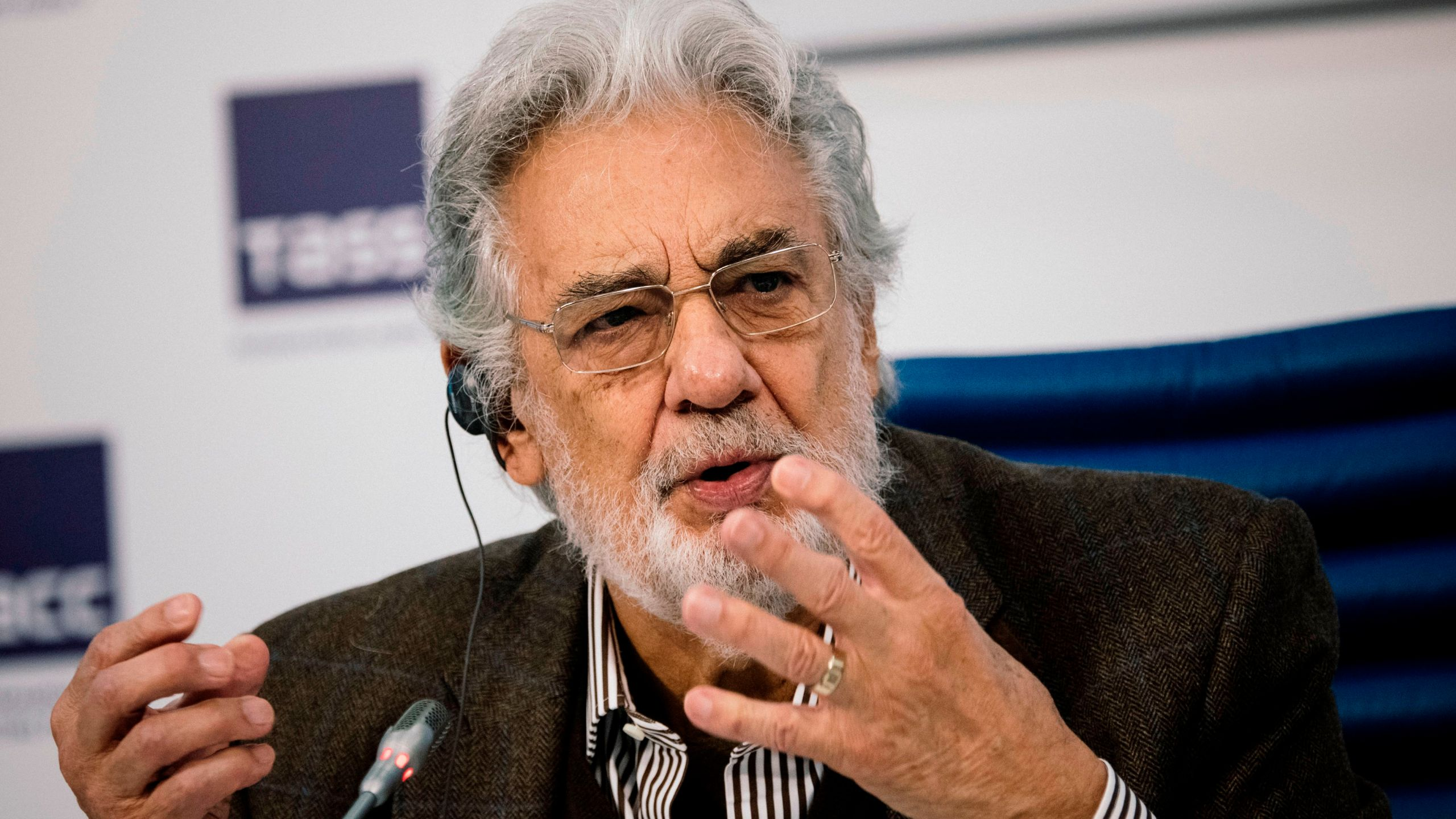 Spanish tenor Placido Domingo gives a press conference ahead of his concert in Moscow on Oct. 15, 2019. (Dimitar DILKOFF / AFP / Getty Images)