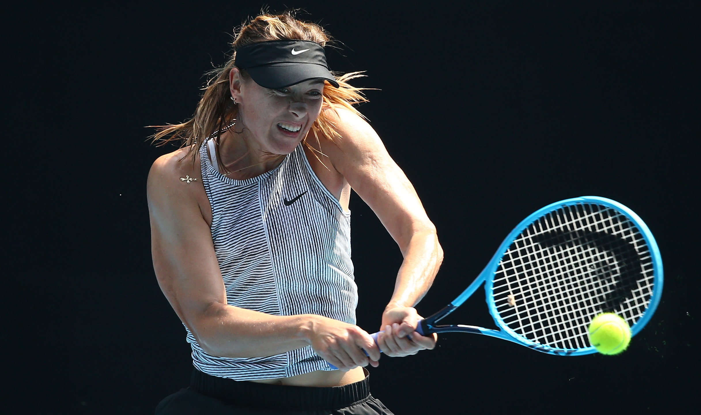 Maria Sharapova practices ahead of the 2020 Australian Open at Melbourne Park on Jan. 19, 2020 in Melbourne, Australia. (Mike Owen/Getty Images)