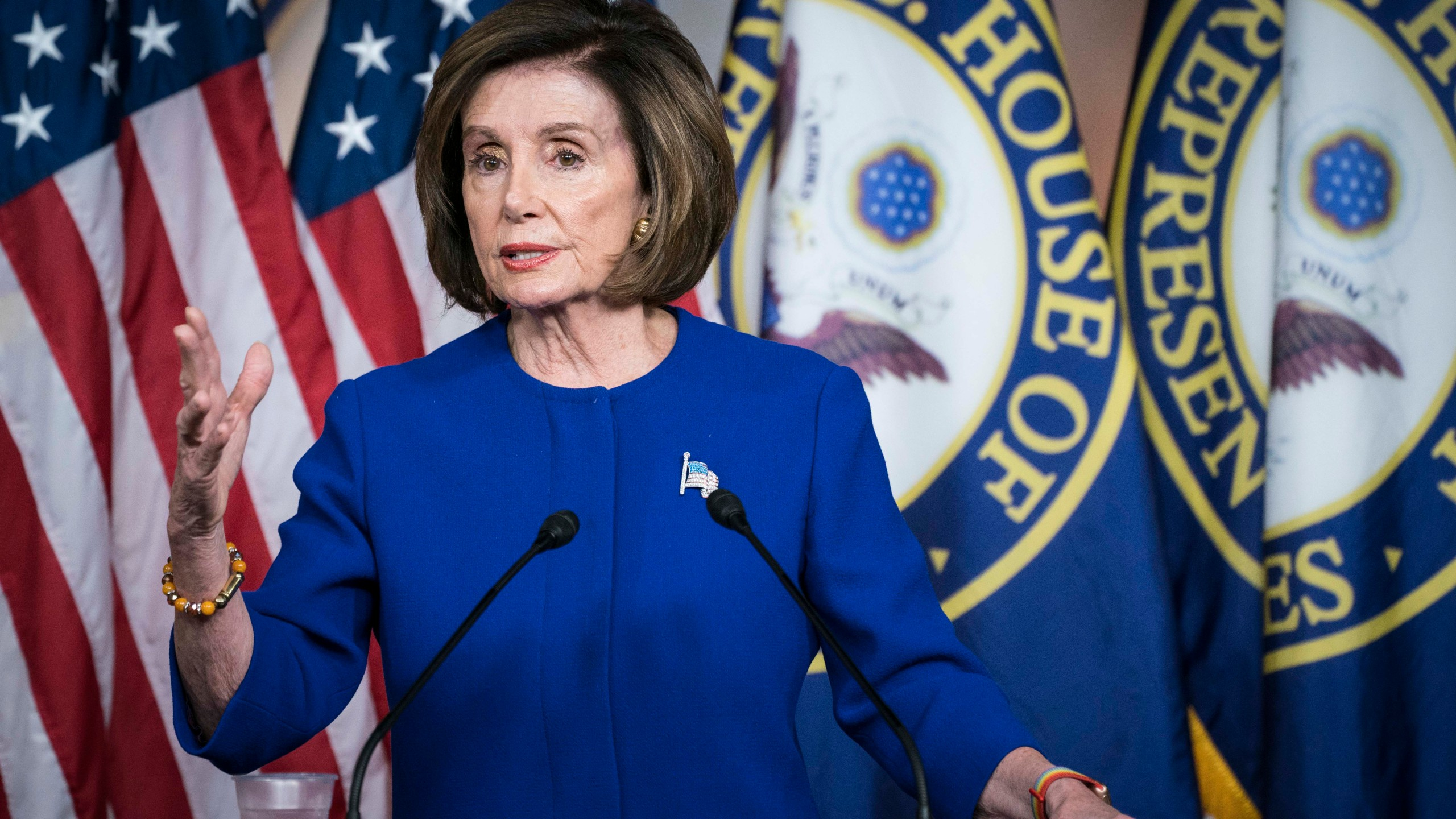 U.S. Speaker of the House Rep. Nancy Pelosi (D-CA) speaks during her weekly news conference Feb. 13, 2020, on Capitol Hill in Washington, D.C. (Sarah Silbiger/Getty Images)