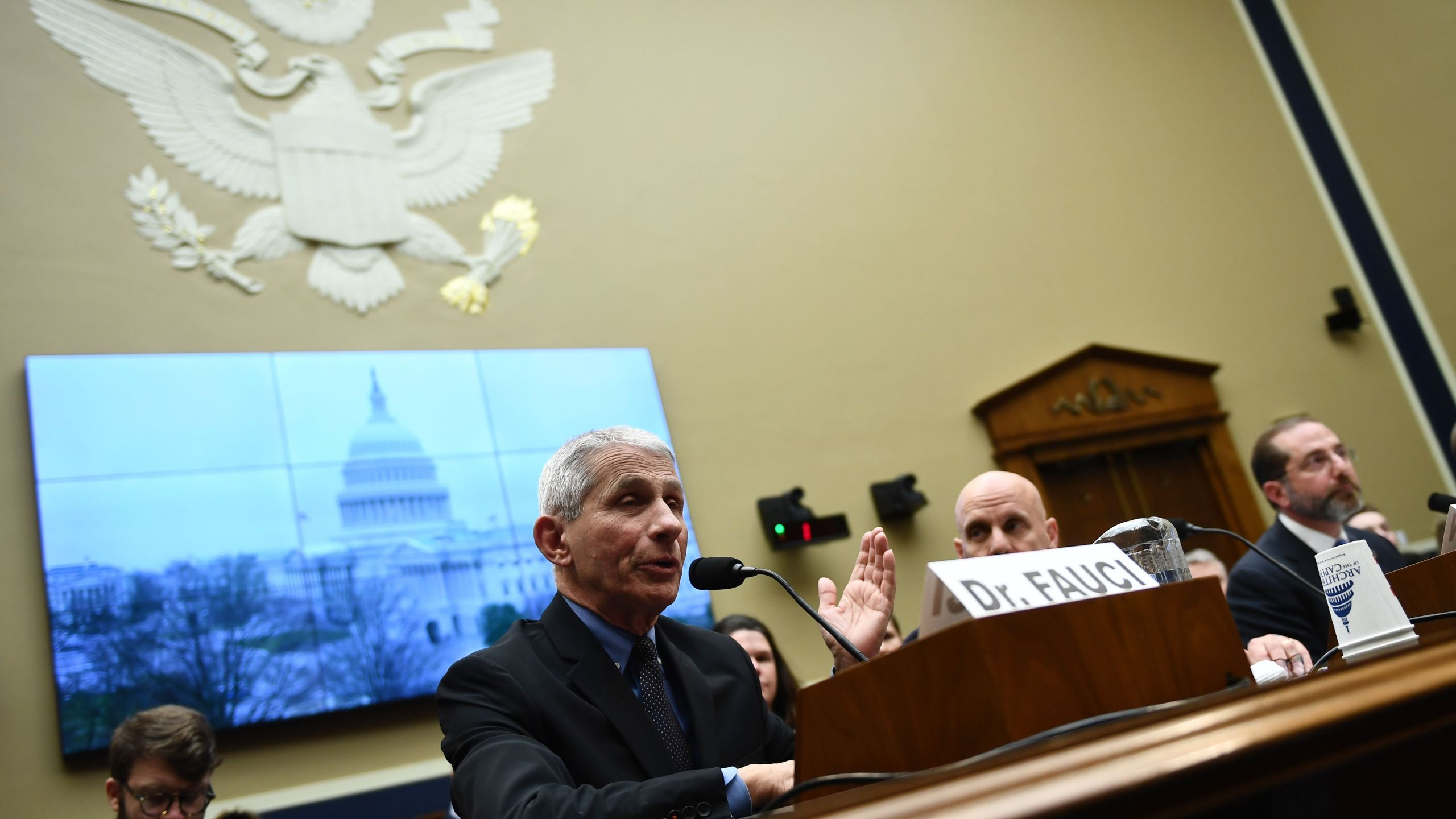 "Dr. Anthony S. Fauci, director of the NIH National Institute for Allergy and Infectious Diseases (L) speaks at a House Energy and Commerce Committee Health Subcommittee hearing on ""The FY2021 HHS Budget and Oversight of the Coronavirus Outbreak"" in the Rayburn House Office Building, on Feb. 26, 2020 in Washington, D.C. (Brendan Smialowski / AFP) (Photo by BRENDAN SMIALOWSKI/AFP via Getty Images)"