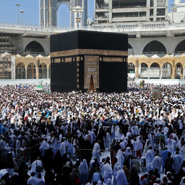 Muslim pilgrims walk around the Kaaba, Islam's holiest shrine, at the Grand Mosque in Saudi Arabia's holy city of Mecca on Feb. 27, 2020. (Abdulghani Basheer/ AFP via Getty Images)