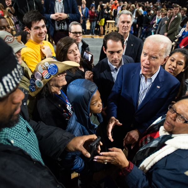 Joe Biden responds to a man asking for a photograph at a campaign event at Wofford University Feb. 28, 2020 in Spartanburg, South Carolina. (Sean Rayford/Getty Images)