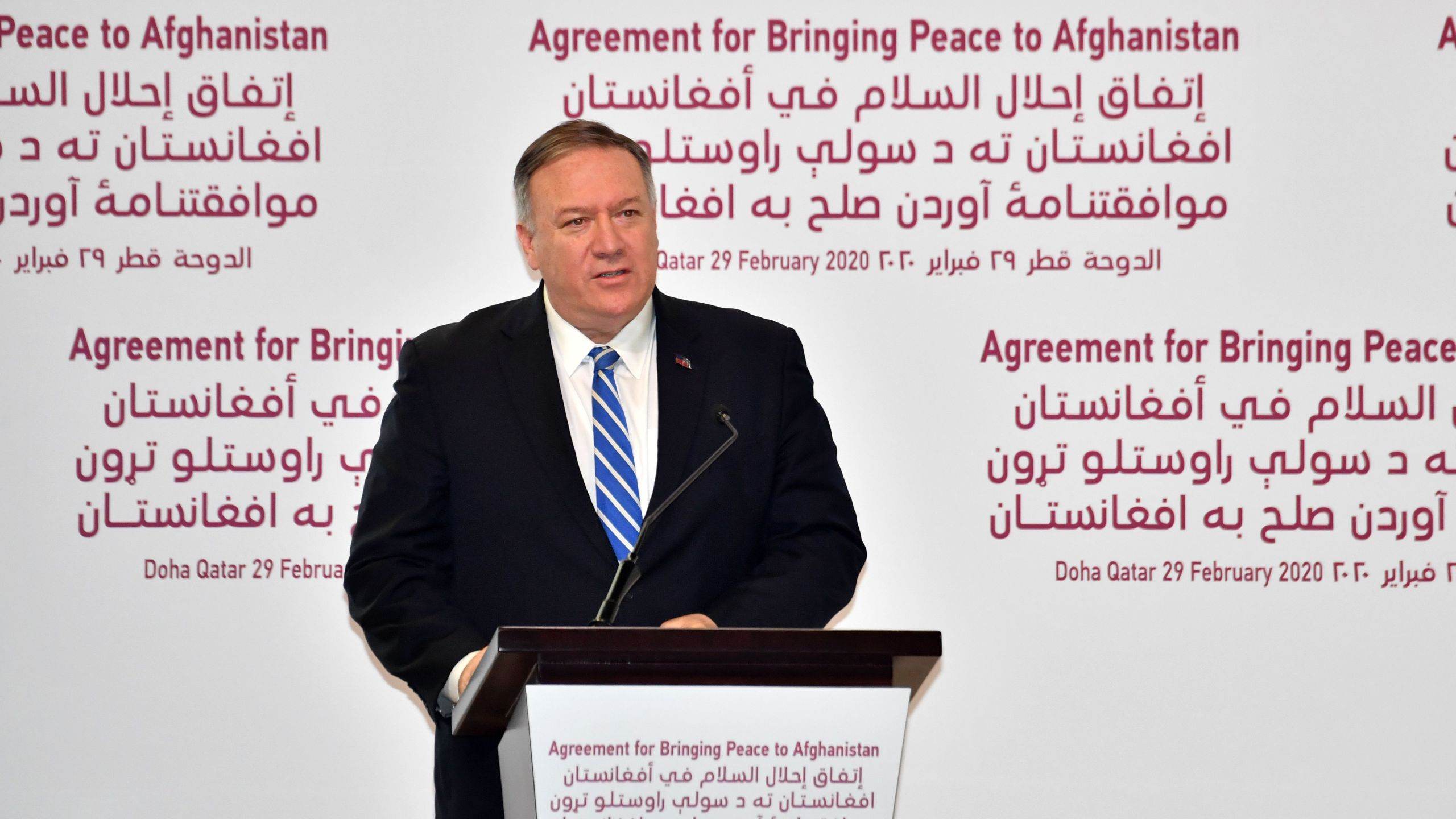 U.S. Secretary of State Mike Pompeo speaks at a signing ceremony of the U.S.-Taliban agreement in the Qatari capital Doha on Feb. 29, 2020. - (GIUSEPPE CACACE/AFP via Getty Images)