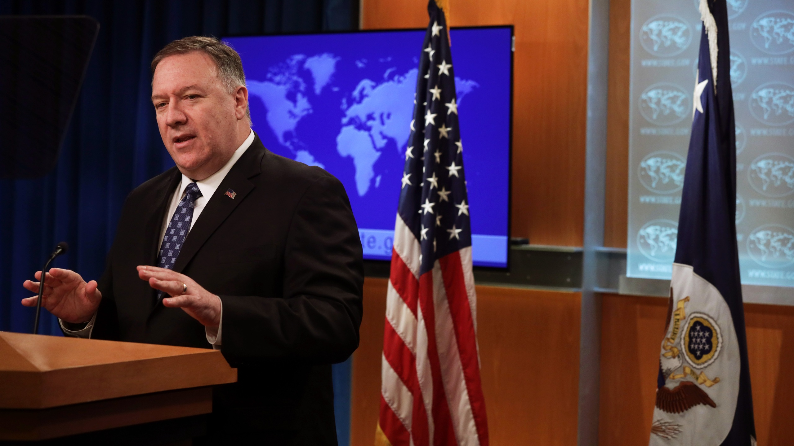 U.S. Secretary of State Mike Pompeo speaks during a news briefing at the State Department Feb. 25, 2020, in Washington, D.C. He discussed the coronavirus and U.S. efforts to combat it among other issues. (Alex Wong/Getty Images)