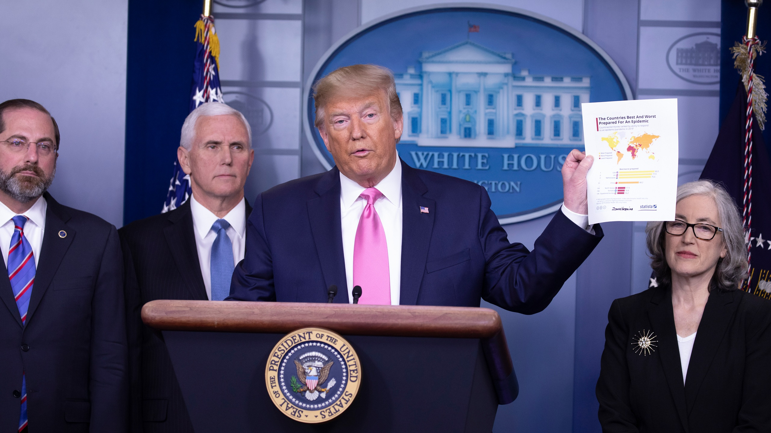 President Donald Trump speaks at the beginning of a new conference with members of the coronavirus task force, including Vice President Mike Pence in the Brady Press Briefing Room at the White House Feb. 26, 2020, in Washington, D.C. (Tasos Katopodis/Getty Images)