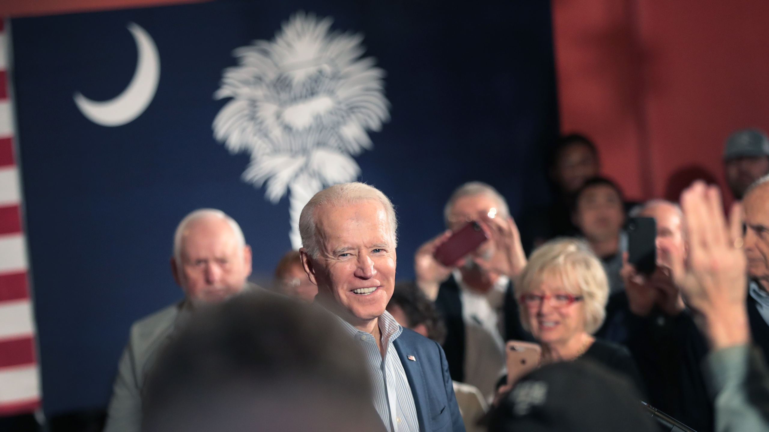 Democratic presidential candidate former Vice President Joe Biden speaks to guests during a campaign stop at the Winyah Indigo Society Hall on Feb. 26, 2020, in Georgetown, South Carolina. (Scott Olson/Getty Images)