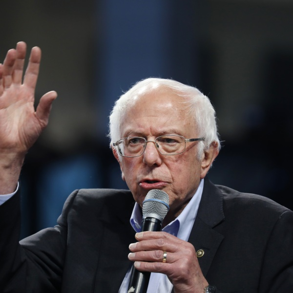 Bernie Sanders speaks to supporters on Feb. 27, 2020, in Spartanburg, South Carolina. (Spencer Platt/Getty Images)