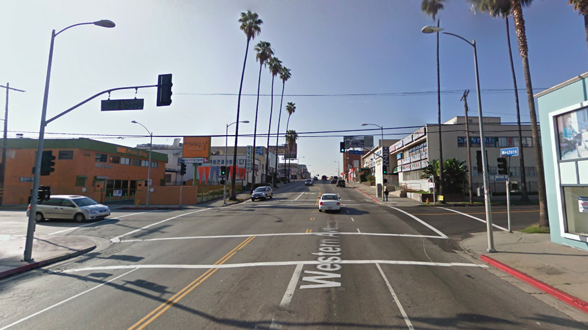 The intersection of Western Avenue and San Marino Street in the Koreatown area of Los Angeles, as viewed in a Google Street View image.