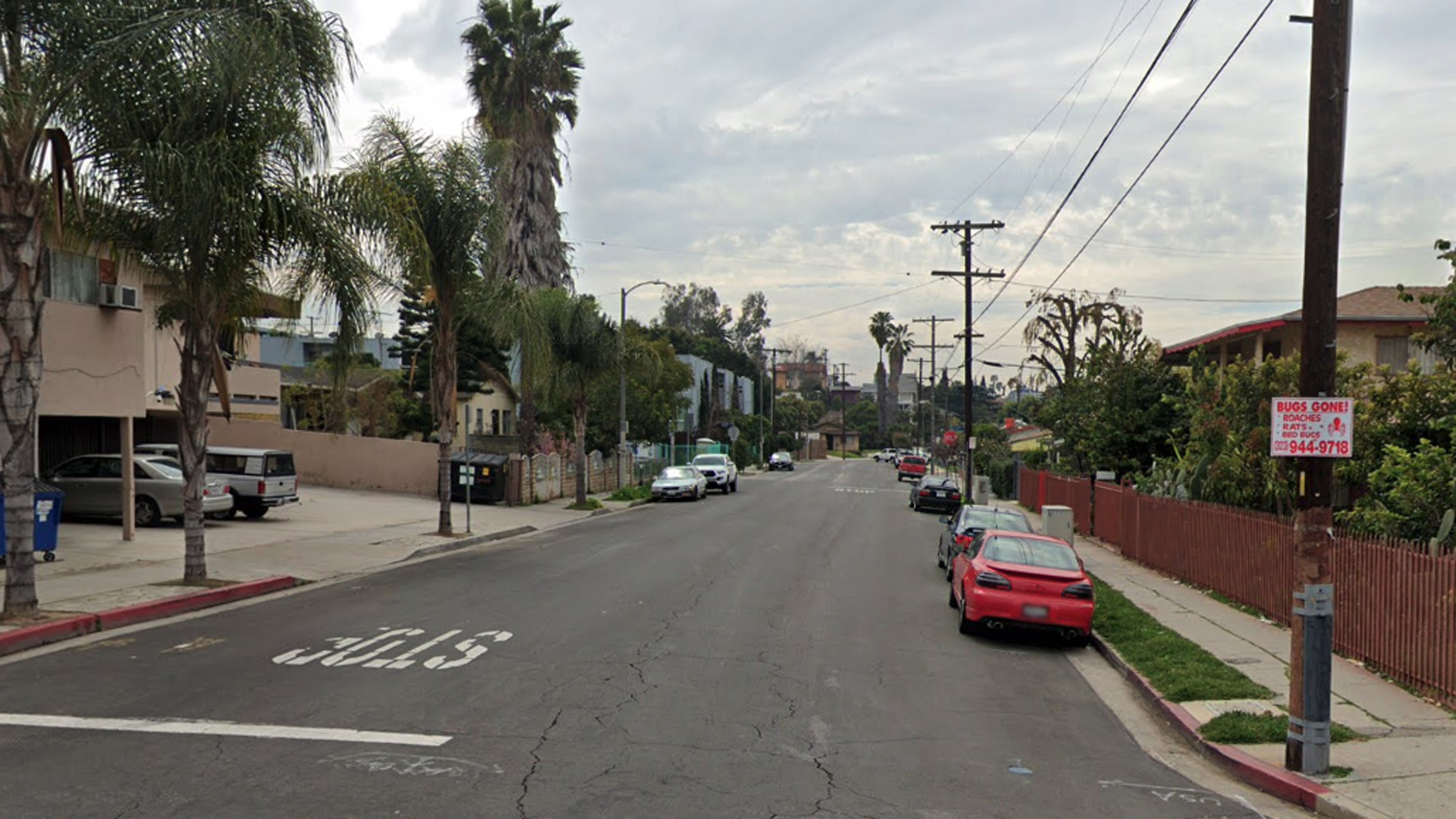 The 1700 block of South Rimpau Boulevard in Los Angeles Mid-City district, as viewed in a Google Street View image.