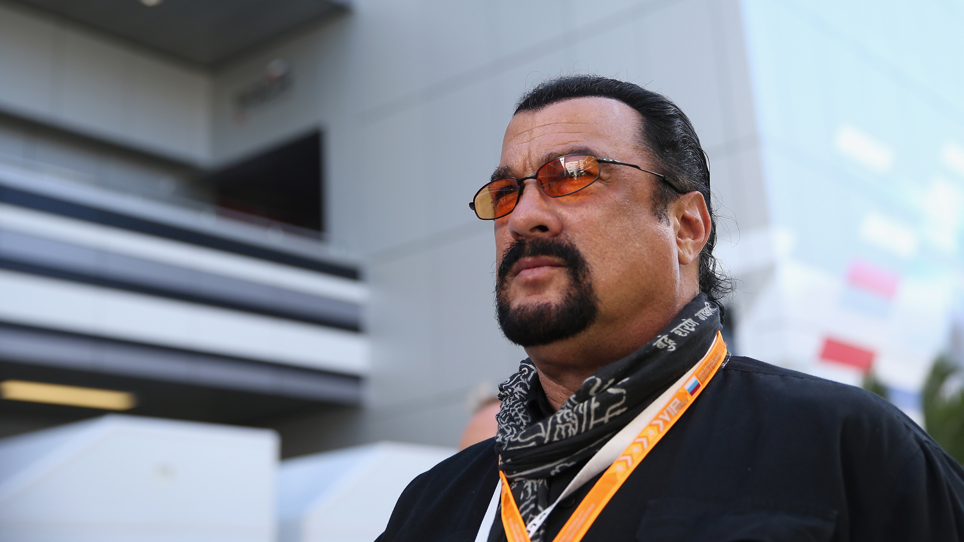 Actor Steven Seagal attends qualifying ahead of the Russian Formula One Grand Prix at Sochi Autodrom on October 11, 2014 in Sochi, Russia. (Clive Mason/Getty Images)
