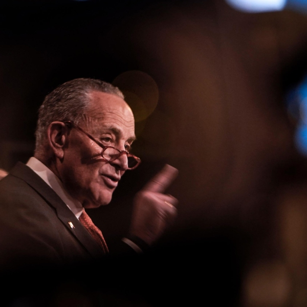 Senate Minority Leader Chuck Schumer speaks during a press conference at the U.S. Capitol on January 28, 2020. (Drew Angerer/Getty Images)