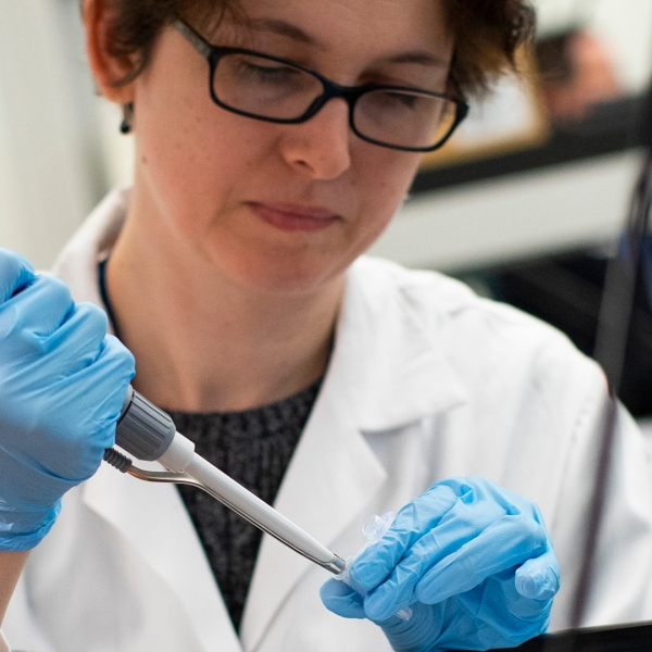 A researcher works in a lab that is developing testing for the COVID-19 coronavirus at Hackensack Meridian Health Center for Discovery and Innovation on February 28, 2020 in Nutley, New Jersey. (Credit: by Kena Betancur/Getty Images)