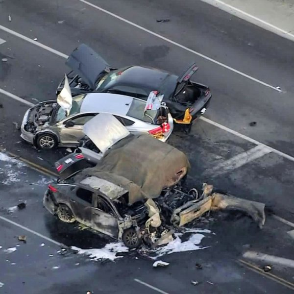 Firefighters respond to the scene of a multi-vehicle collision in Inglewood on Feb. 10, 2020. (Credit: KTLA)