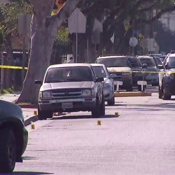 Police respond to an officer-involved shooting in Bell Gardens on Feb. 6, 2020. (Credit: KTLA)