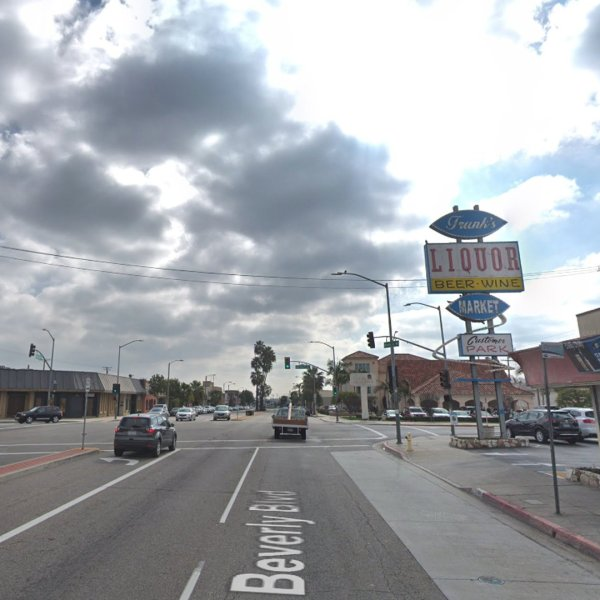 A bus stop at the southwest corner of East Beverly Boulevard and Gerhart Avenue in East Los Angeles appears in this image from Google Maps.