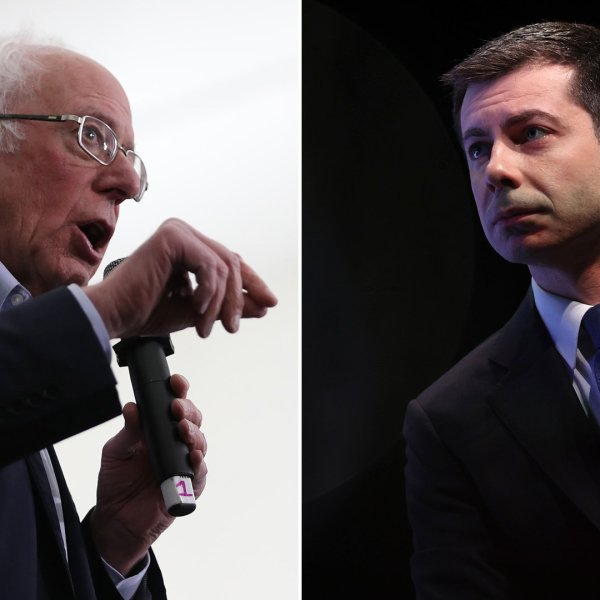Sen. Bernie Sanders, left, speaks at a campaign rally in Milford, New Hampshire, on Feb. 4, 2020. At right, former South Bend Mayor Pete Buttigieg appears at a climate town hall in Concord, New Hampshire, on Feb. 5, 2020. (Photo by Joe Raedle/Getty Images)