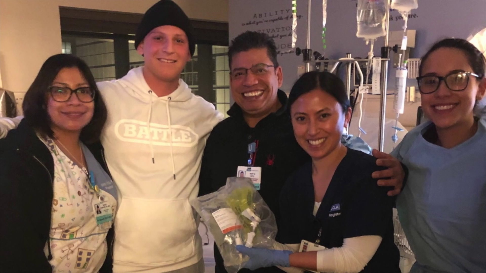 Matt Fahn is seen in a photo during his treatment.