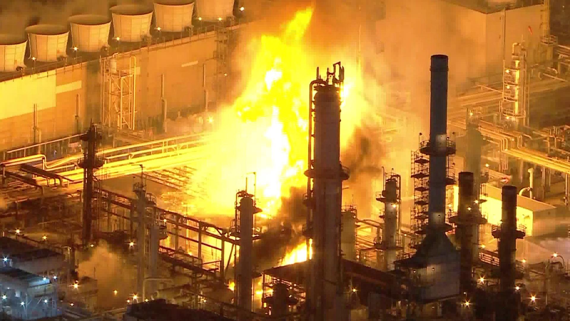 Marathon Petroleum Corporation refinery in Carson caught fire on Feb. 25, 2020. (KTLA)