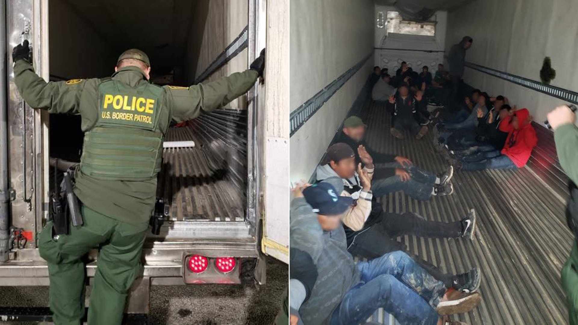 Dozens of people, including 2 children, were found traveling in a big rig trailer near the Salton Sea on Feb. 12, 2020. (Credit: U.S. Customs and Border Protection)