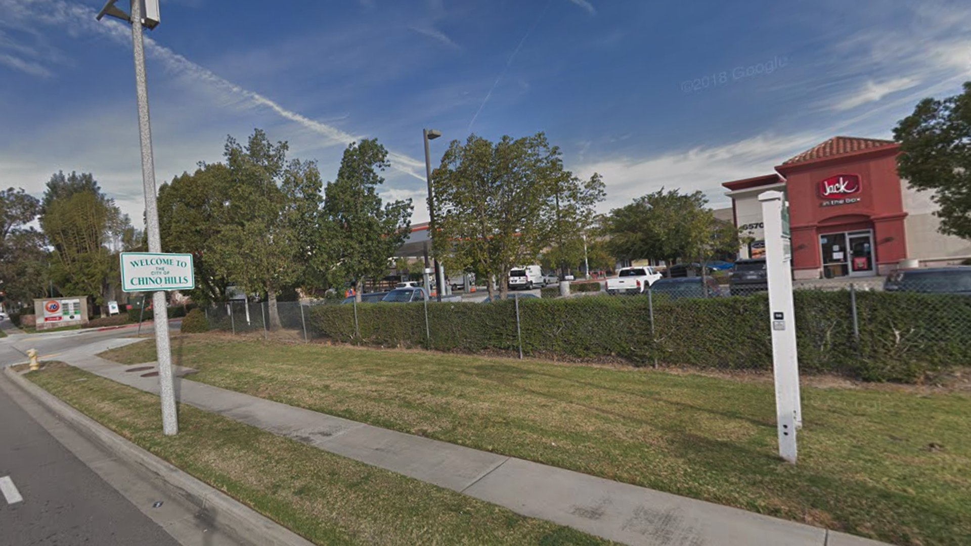 A commercial parking lot along the 6500 block of Butterfield Ranch Road in Chino Hills, as pictured in a Google Street View image.