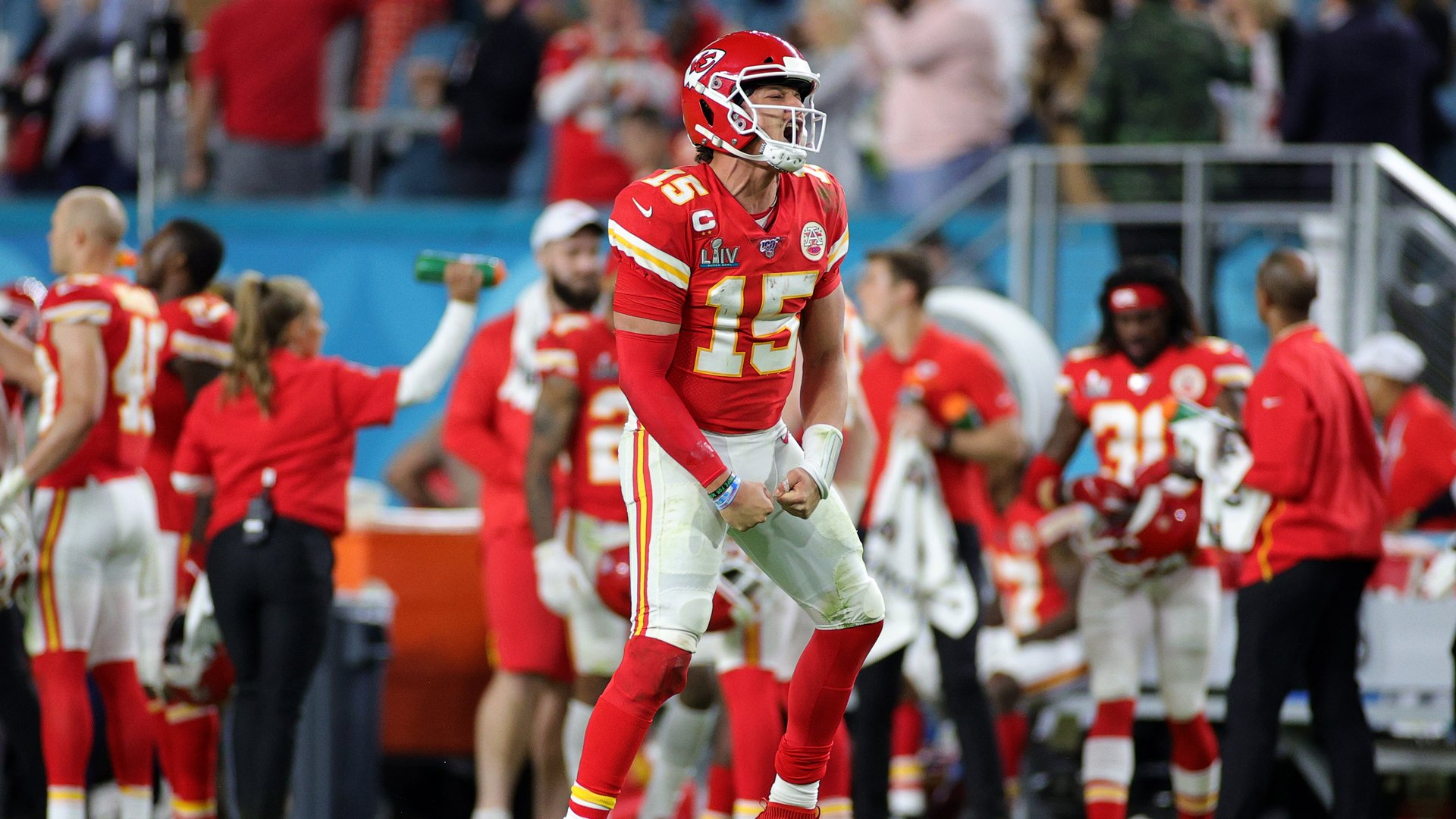 Patrick Mahomes #15 of the Kansas City Chiefs celebrates after throwing a touchdown pass against the San Francisco 49ers during the fourth quarter in Super Bowl LIV at Hard Rock Stadium on February 02, 2020 in Miami, Florida. (Credit: Maddie Meyer/Getty Images)