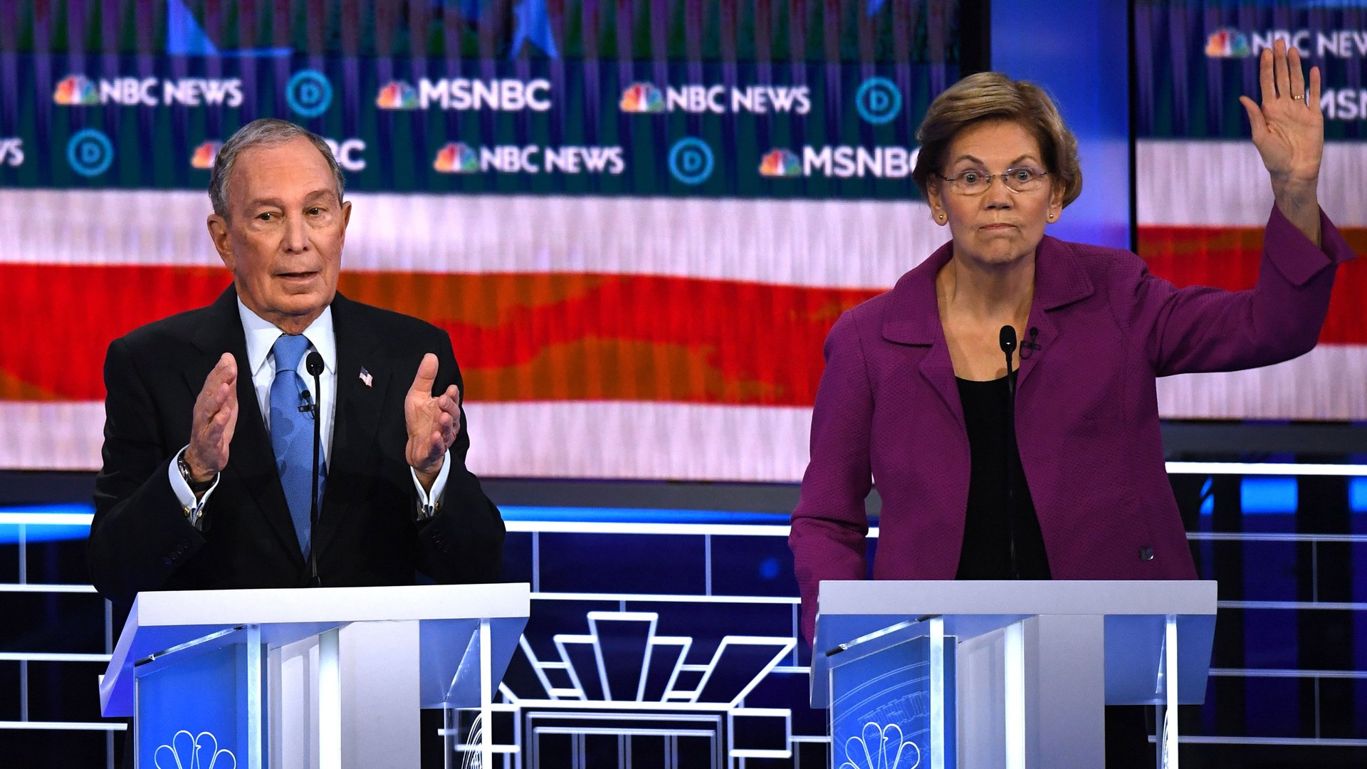 Sen. Elizabeth Warren, right, gestures next to former New York Mayor Mike Bloomberg during the ninth Democratic primary debate of the 2020 presidential campaign season in Las Vegas on Feb. 19, 2020. (Credit: Mark Ralston / AFP / Getty Images)