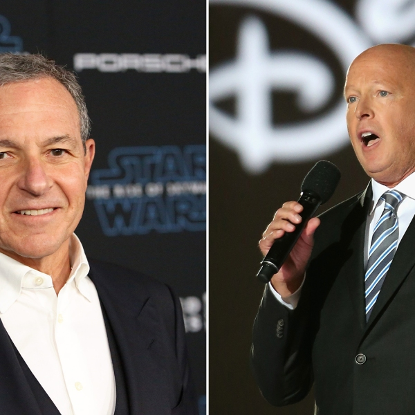A composite image shows former Disney CEO Bob Iger, left, and new CEO Bob Chapek. (Chris Jackson, Jesse Grant/Getty Images)