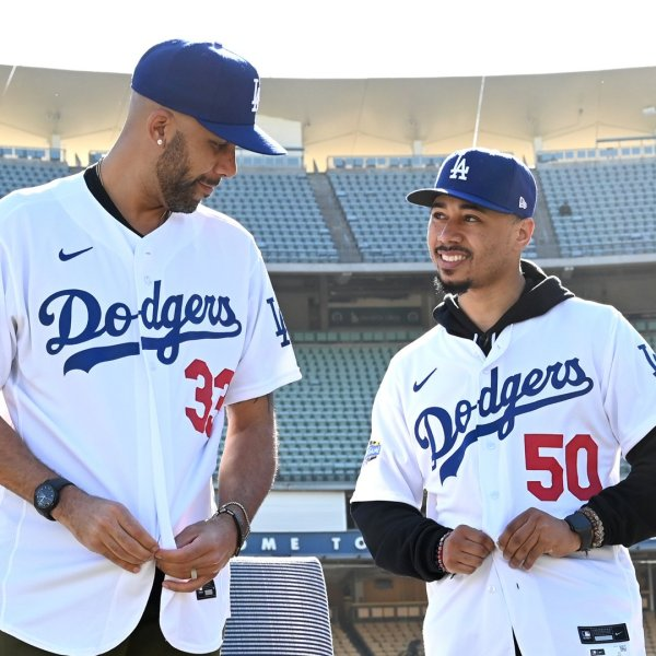 Los Angeles Dodgers David Price, left, and Mookie Betts adjust their jerseys as they are introduced at Dodger Stadium on Feb. 12, 2020. (Credit: Jayne Kamin-Oncea / Getty Images)