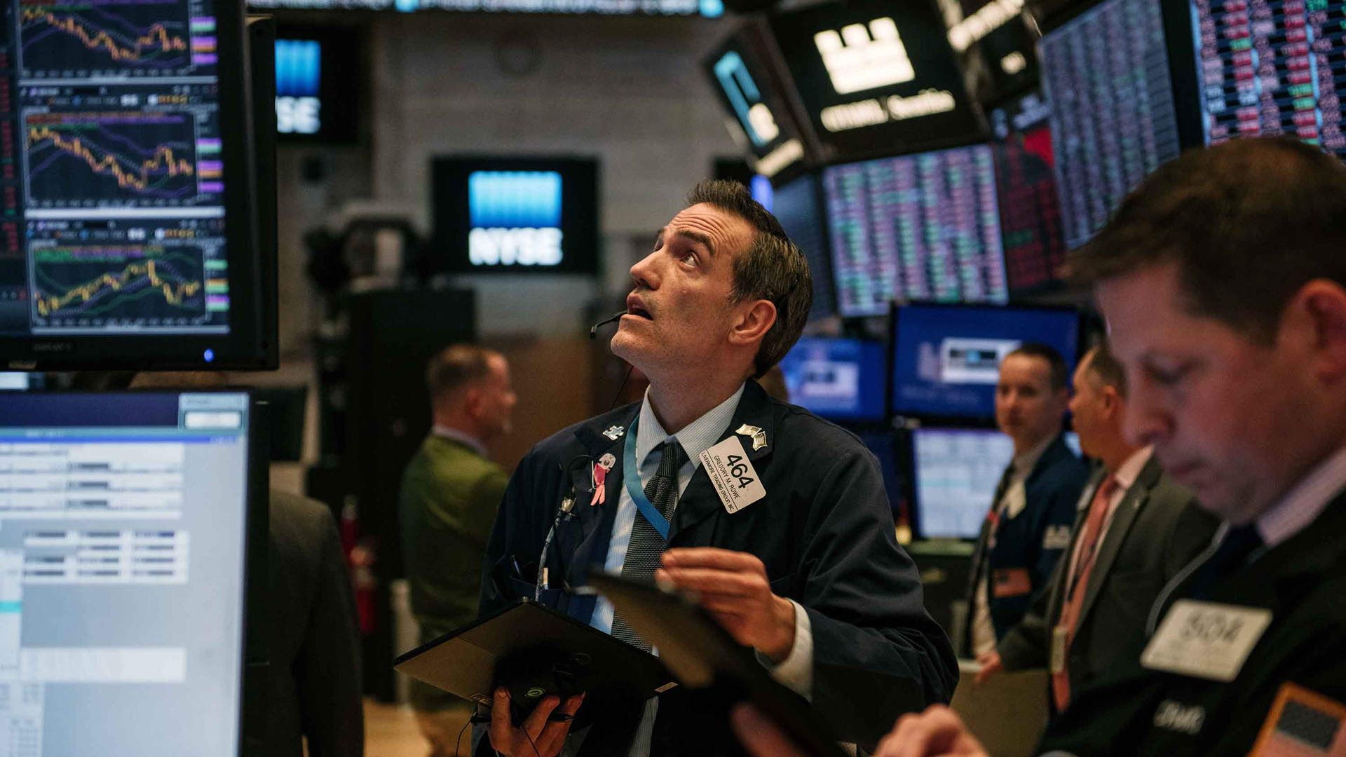 Traders work through the closing minutes of trading Tuesday on the New York Stock Exchange floor on Feb. 25, 2020, in New York City. (Scott Heins/Getty Images)