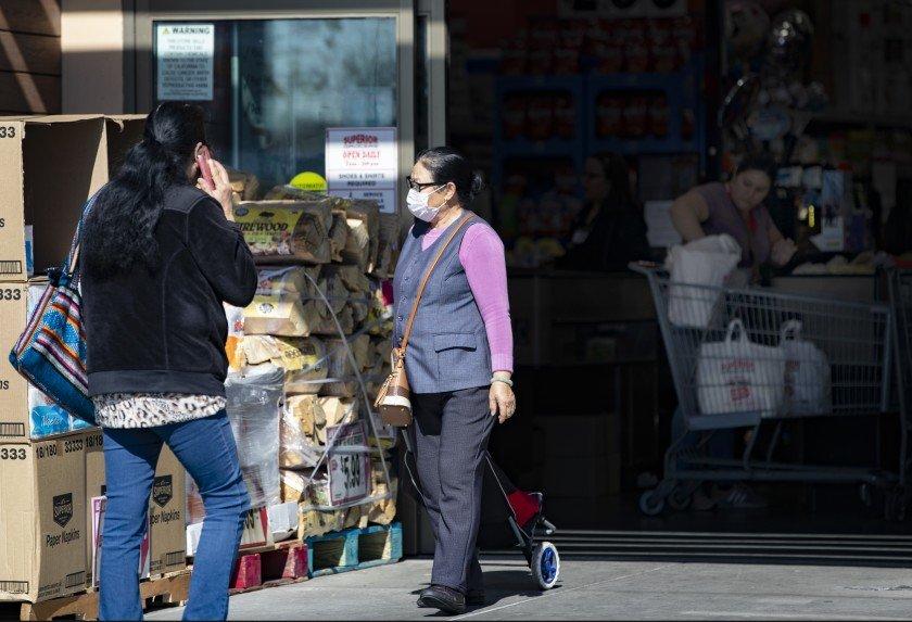 Shoppers are seen at El Superior Market in El Monte. (Credit:Gina Ferazzi / Los Angeles Times)