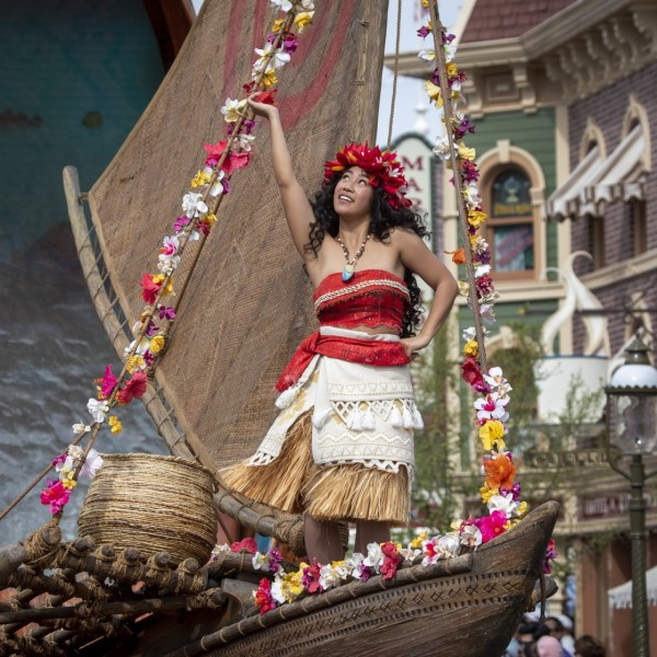 Disney's Moana rides on her float during the Magic Happens parade. (Allen J. Schaben/ Los Angeles Times)