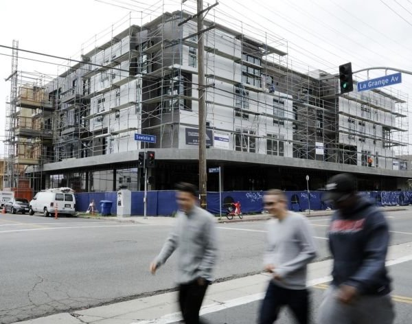An apartment building under construction in Sawtelle in seen in 2019. (Credit: Myung J. Chun / Los Angeles Times)