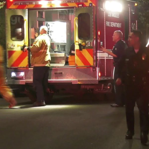 Emergency crews respond to a shooting in Van Nuys on Feb. 12, 2020. (Credit: KTLA)