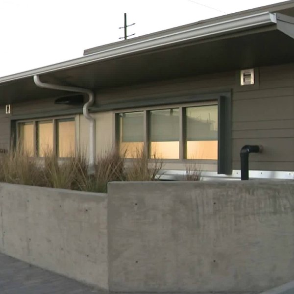 A new transitional facility for the homeless opens in North Hollywood on Feb. 20, 2020. (Credit: KTLA)