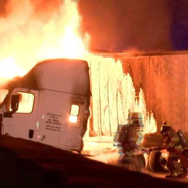 Emergency crews respond to a fiery crash on the 15 Freeway in Rancho Cucamonga on Feb. 10, 2020. (Credit: InlandNews)