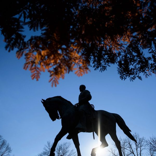 A statue of Confederate General Robert Edward Lee is seen in Market Street Park on November 26, 2018 in Charlottesville, Virginia. (Credit: BRENDAN SMIALOWSKI/AFP via Getty Images)
