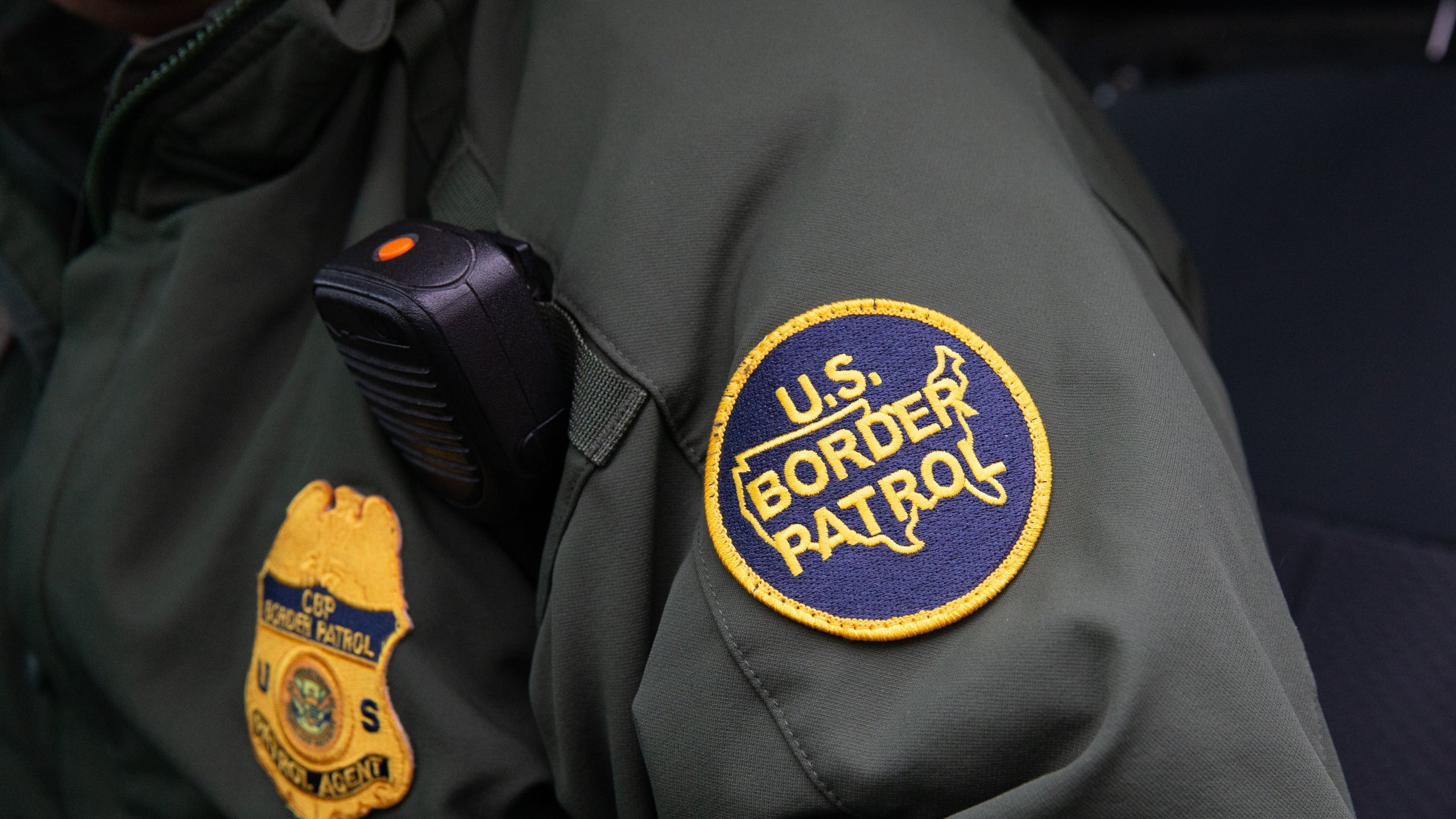 This photo shows a U.S. Border Patrol patch on a border agent's uniform in McAllen, Texas, on Jan. 15, 2019. (Credit: SUZANNE CORDEIRO/AFP via Getty Images)