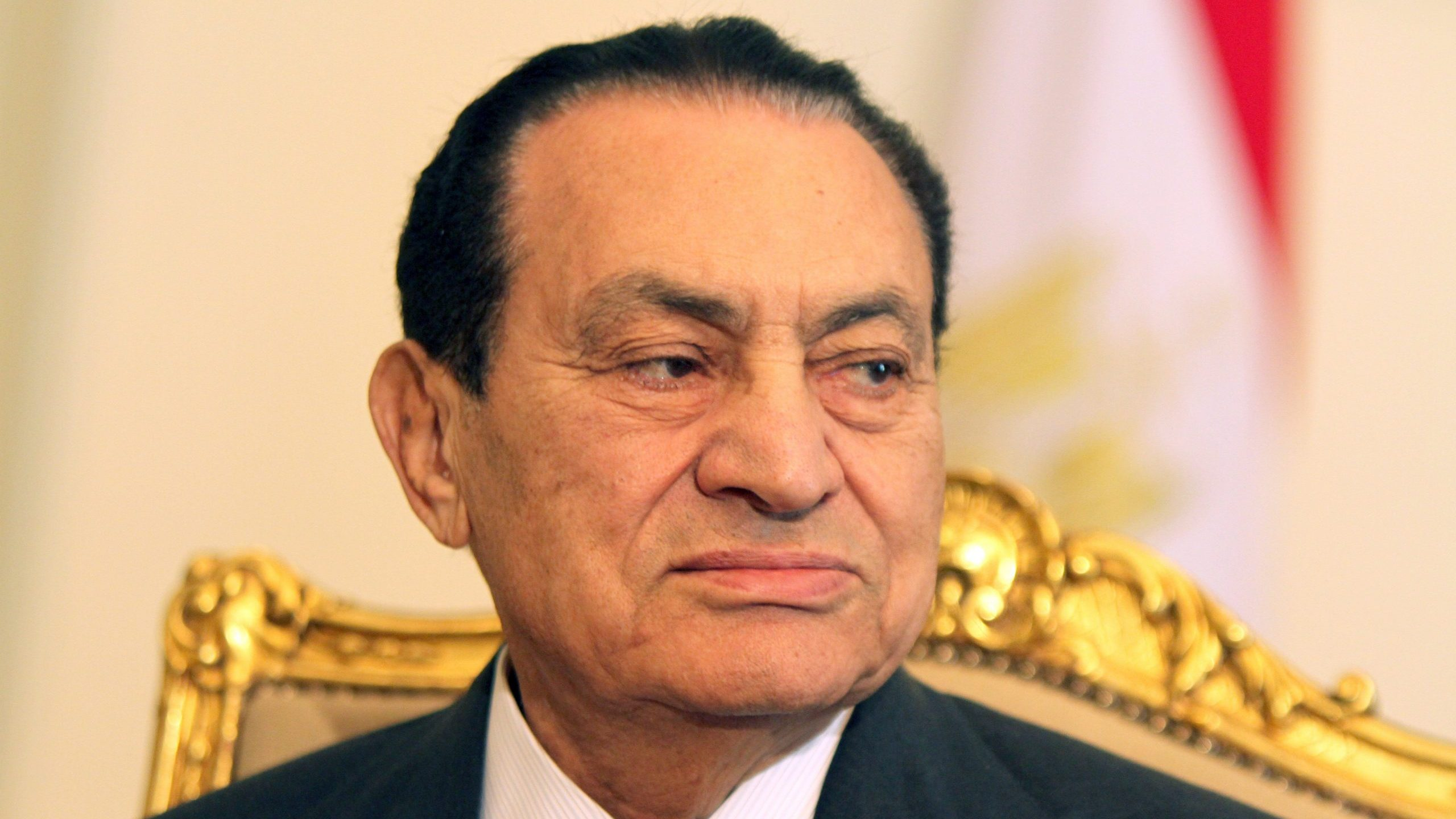 Egyptian President Hosni Mubarak meets with Emirates Foreign Minister Sheikh Abdullah bin Zayed al-Nahayan (unseen) in Cairo on February 8, 2011, as protests in the city continue for the 15th consecutive day calling for his resignation and an end to his regime. (Credit: KHALED DESOUKI/AFP via Getty Images)