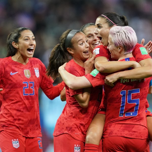 U.S. players celebrate a goal during the Women's World Cup match between USA and Thailand in Reims, France, on June 11, 2019. (Credit: Lionel Bonaventure / AFP / Getty Images)