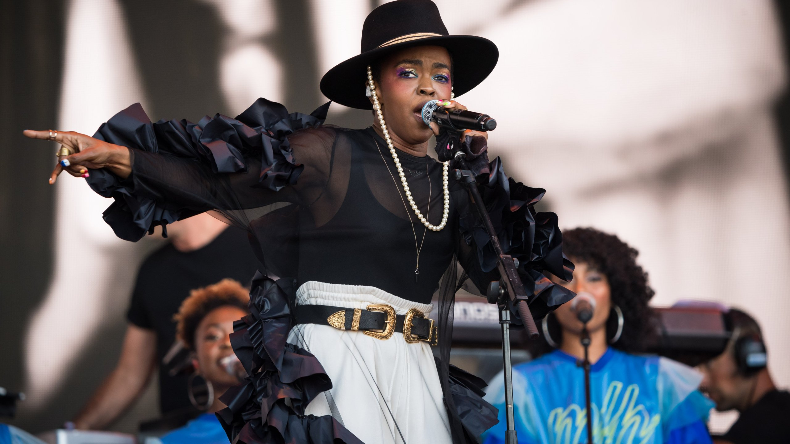 Lauryn Hill performs on stage at the Glastonbury Festival at Worthy Farm, Pilton on June 28, 2019 in England. (Credit: Ian Gavan/Getty Images)