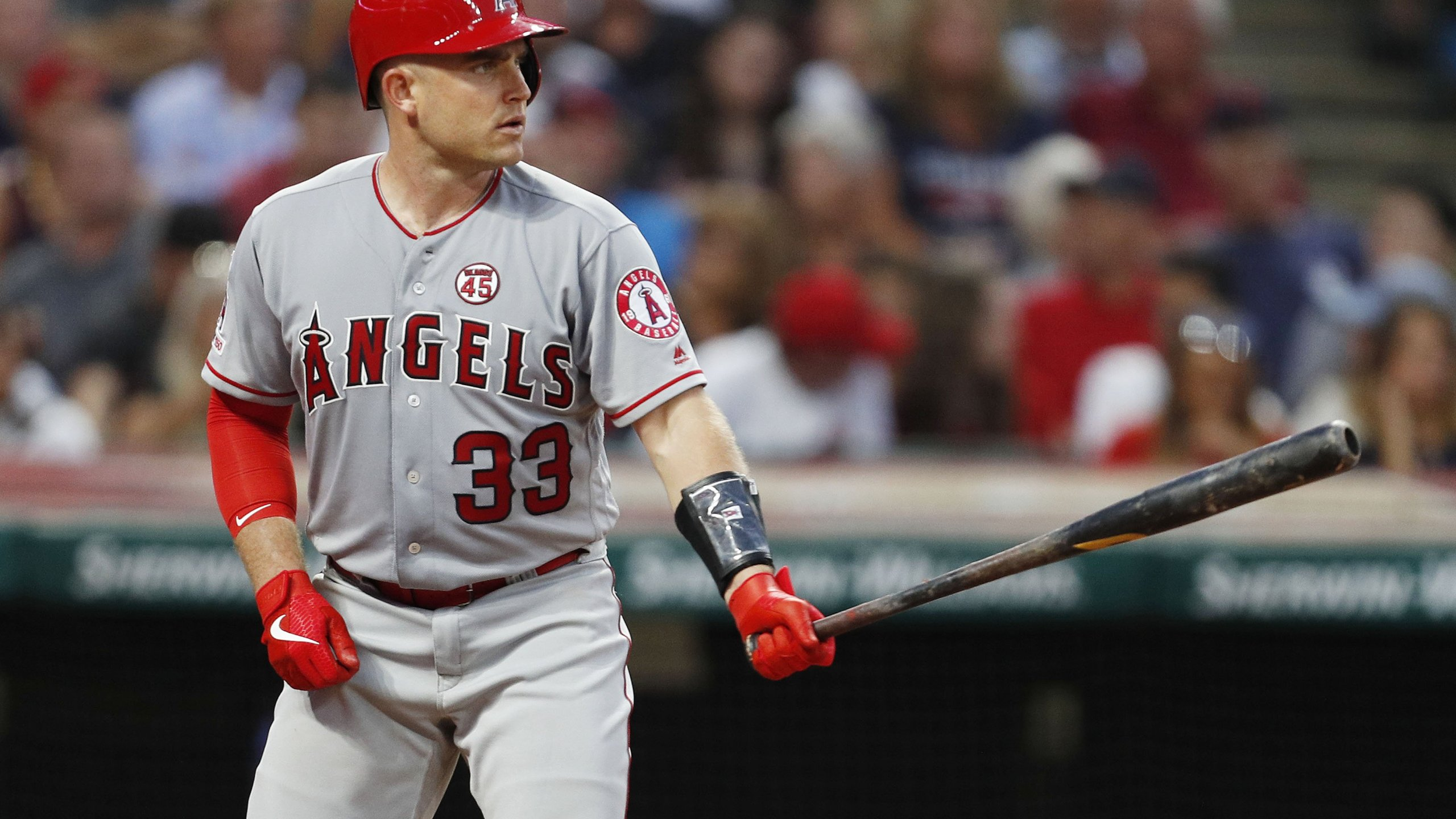 Max Stassi of the Los Angeles Angels of Anaheim stands in to bat against the Cleveland Indians in the fifth inning at Progressive Field on Aug. 2, 2019 in Cleveland, Ohio. (Credit: David Maxwell/Getty Images)