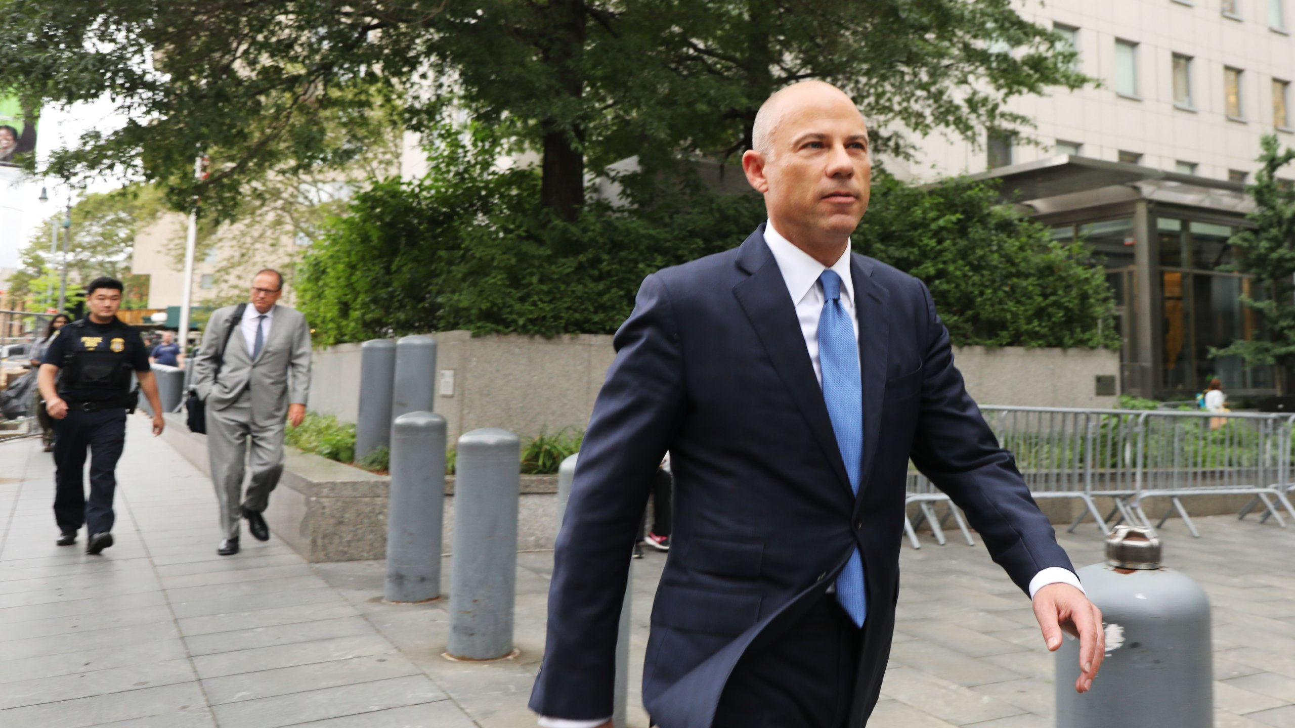 Michael Avenatti walks out of a New York court house after a hearing on July 23, 2019 in New York City. (Credit: Spencer Platt/Getty Images)